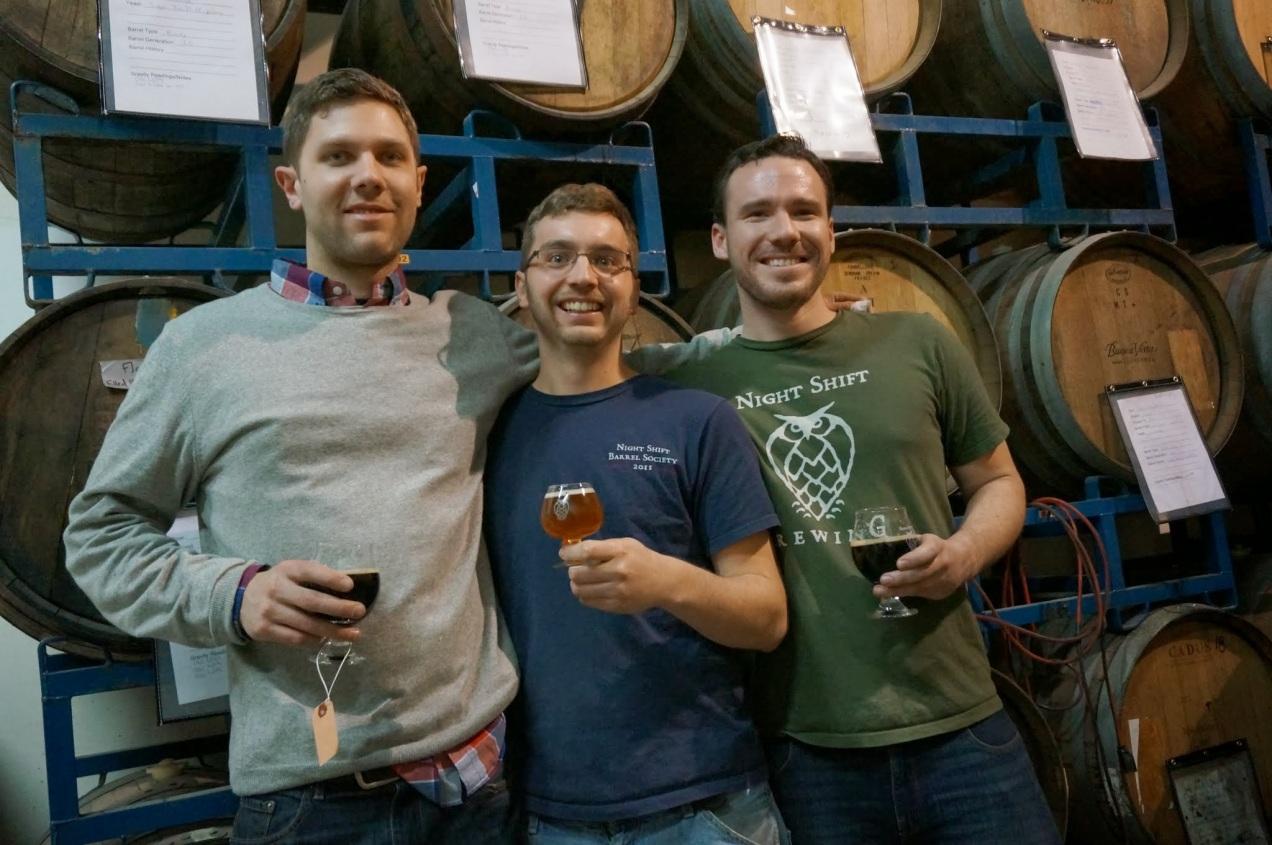 Michael Oxton, Robert Burns, and Michael O'Mara of Night Shift Brewing