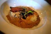 Porridge, Bacon, Soft Cooked Egg at Armsby Abbey Founders Breakfast
